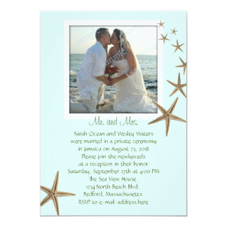 Reception Only Blue Starfish Wedding Announcements