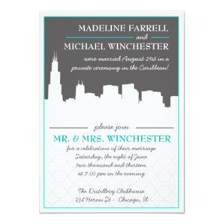 Reception Only Chicago Skyline Wedding Photo Invit Card