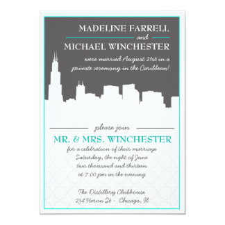 Reception Only Chicago Skyline Wedding Photo Invit Personalized Announcement