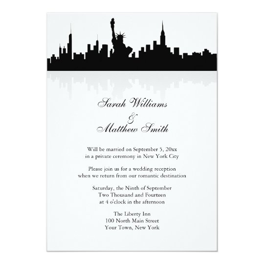 Personalized Skyline Wedding Invitations: Reception Only New York Skyline Wedding Invitation