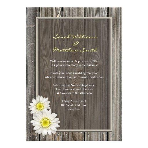 Reception Only Rustic Daisy Wedding Invitations