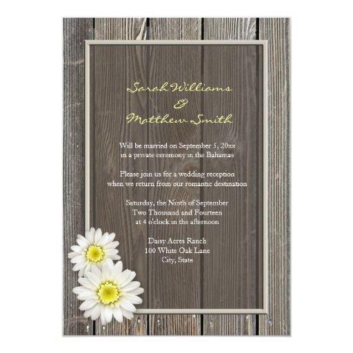 "Reception Only Rustic Daisy Wedding Invitations 5"" X 7"" Invitation Card"