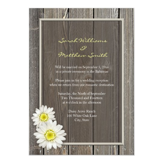 Reception Only Rustic Daisy Wedding Invitations Zazzlecom