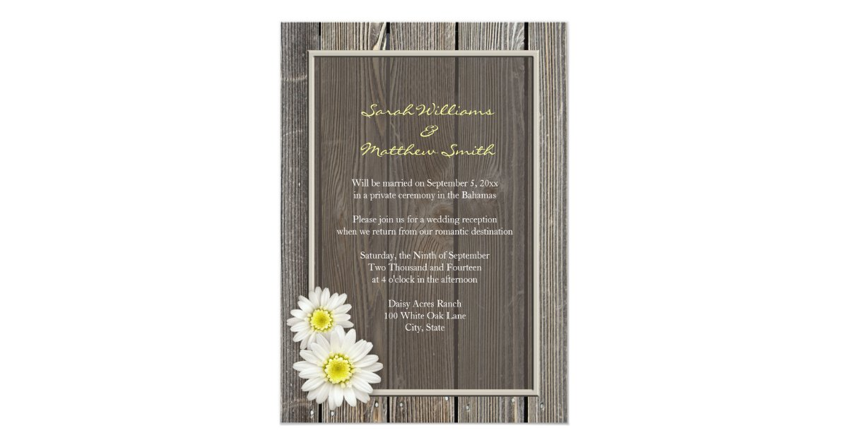 reception only rustic daisy wedding invitations zazzlecom - Daisy Wedding Invitations