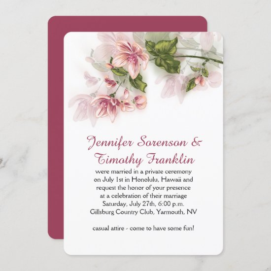 Reception Only Watercolor Pink Flowers Blossoms Invitation