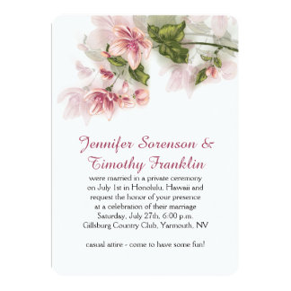 """Reception Only Watercolor Pink Flowers Blossoms 5"""" X 7"""" Invitation Card"""