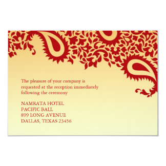 Reception Paisley Indian Style Wedding Flat Card