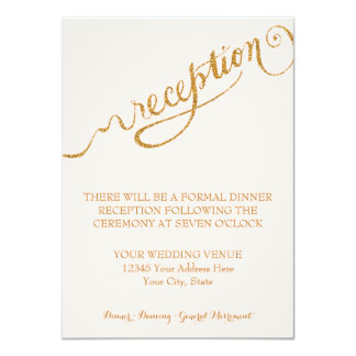 "Reception Script Forever in Love Gold Glitter 4.5"" X 6.25"" Invitation Card"