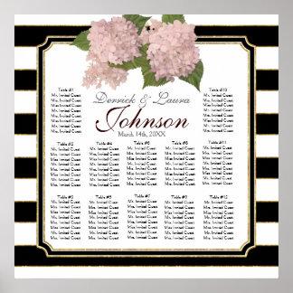 Reception Seating Chart Pink Hydrangea Modern Poster