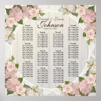 Reception Seating Chart Pink Hydrangea Wood Lace