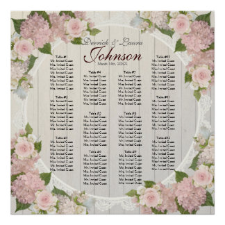 Reception Seating Chart Pink Hydrangea Wood Lace Poster