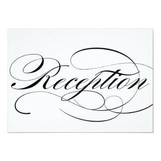 Reception sign for wedding in beautiful script 5x7 paper invitation card