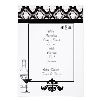 Reception Table Menu Card
