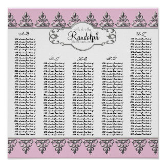 Reception Table Seating Chart Baroque Swirl Silver Poster