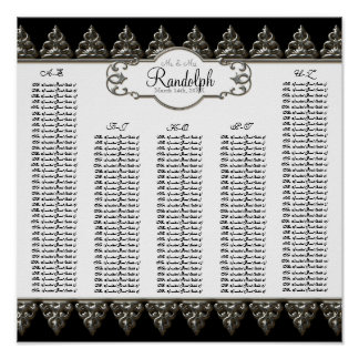 Reception Table Seating Chart Baroque Swirl Silver Print