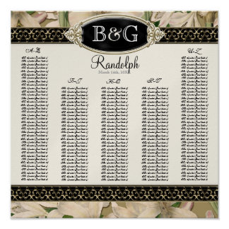 Reception Table Seating Chart Baroque Vintage Lily