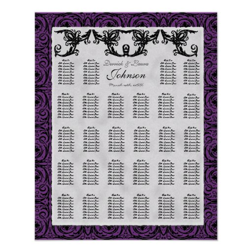 Reception Table Seating Chart, Black White Damask Poster