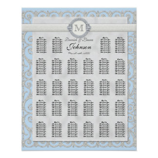 Reception Table Seating Chart, Diamonds & Lace Poster