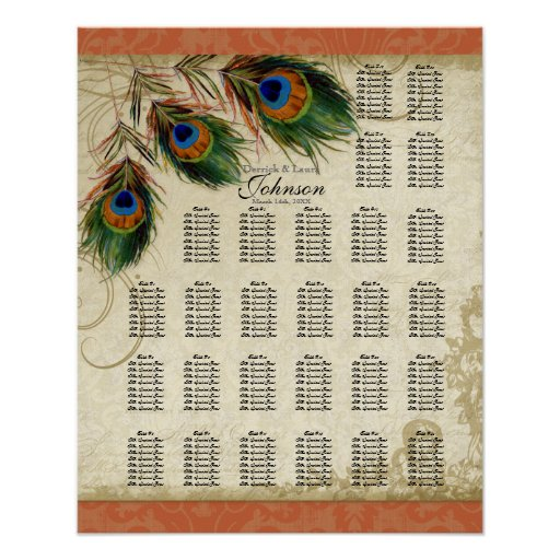 Reception Table Seating Chart, Peacock & Feathers Poster