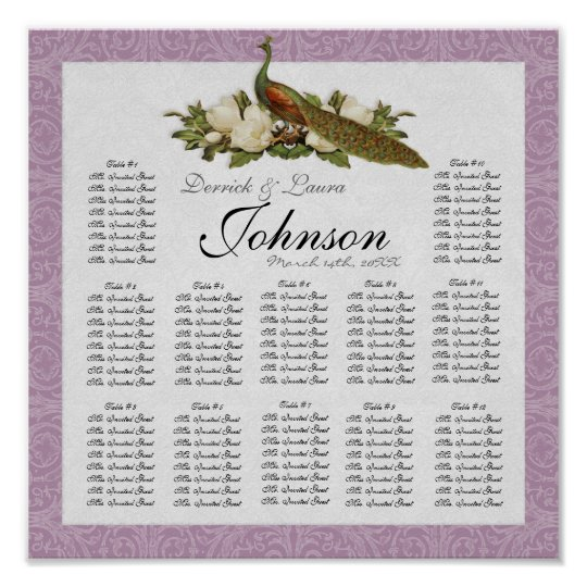 Reception Table Seating Chart, Vintage Peacock Poster