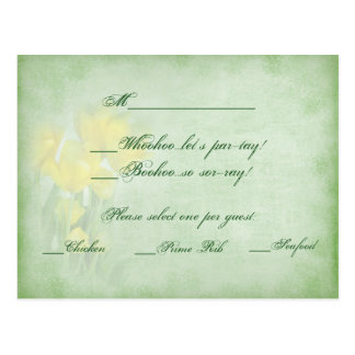 Reception Wed. RSVP Cards - Yellow Tulips & Sage