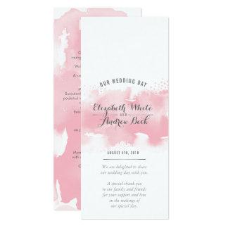RECEPTION WEDDING MENU watercolor blush pink grey Card