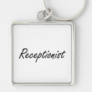 Receptionist Artistic Job Design Silver-Colored Square Keychain