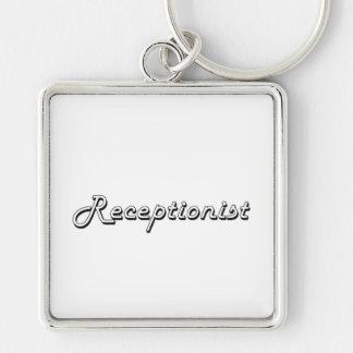 Receptionist Classic Job Design Silver-Colored Square Keychain