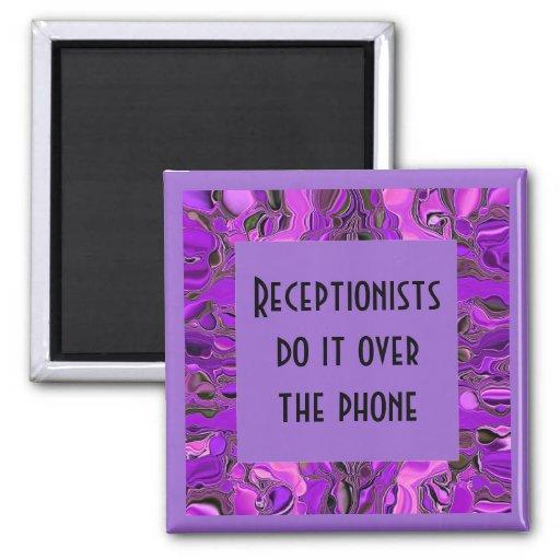 receptionist humor 2 inch square magnet