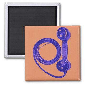 Receptor de teléfono púrpura del vintage con el imán cuadrado