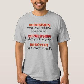 Recesión, depresión, recuperación - camiseta polera