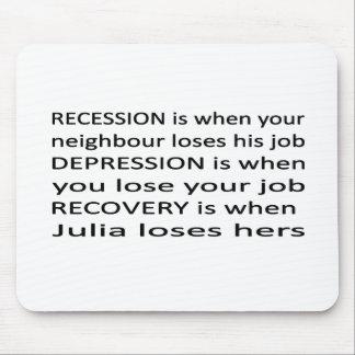 Recesión, depresión, recuperación tapete de raton