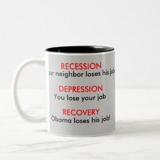 Recession, Depression, Recovery - Economy Two-Tone Coffee Mug