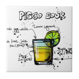 Receta amarga del cóctel de Pisco Azulejo Cuadrado Pequeño
