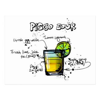 Receta amarga del cóctel de Pisco Tarjeta Postal
