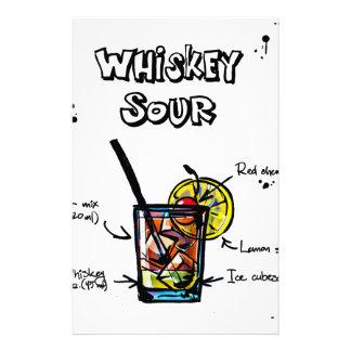 Receta amarga del cóctel de whisky papeleria de diseño