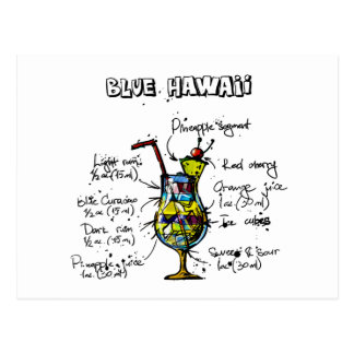 Receta azul del cóctel de Hawaii Tarjeta Postal