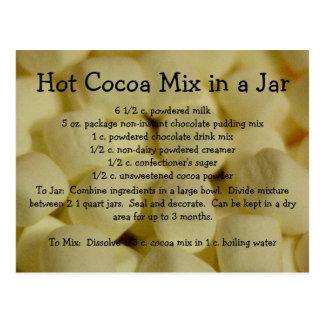 Receta caliente de la mezcla del cacao tarjeta postal