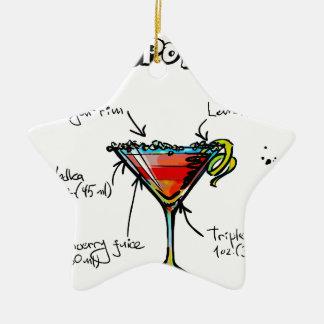 Receta cosmopolita del cóctel adorno navideño de cerámica en forma de estrella