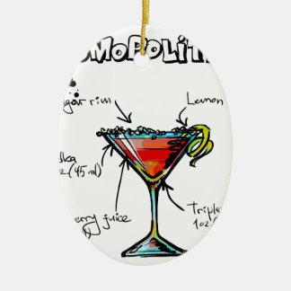 Receta cosmopolita del cóctel adorno navideño ovalado de cerámica