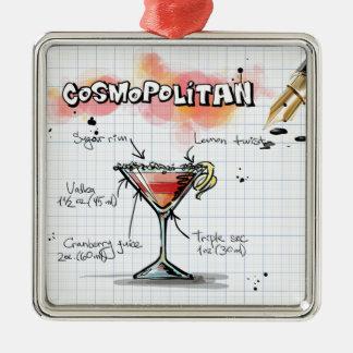 Receta cosmopolita - regalo del cóctel adorno navideño cuadrado de metal
