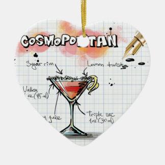 Receta cosmopolita - regalo del cóctel adorno navideño de cerámica en forma de corazón