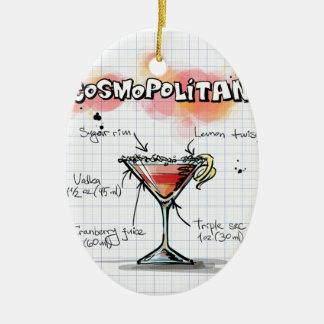 Receta cosmopolita - regalo del cóctel adorno navideño ovalado de cerámica