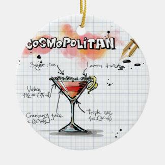 Receta cosmopolita - regalo del cóctel adorno navideño redondo de cerámica