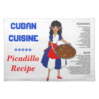Receta cubana Placemat de la cocina - inglés de Pi Manteles Individuales