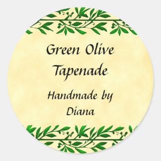 Receta de encargo de la hoja verde oliva o etiquet