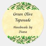 Receta de encargo de la hoja verde oliva o etiquetas redondas