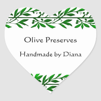 Receta de encargo de la hoja verde oliva o pegatina en forma de corazón