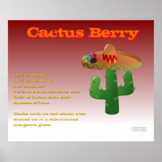Receta de la bebida de la baya del cactus póster