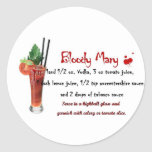 Receta de la bebida del bloody mary etiqueta redonda